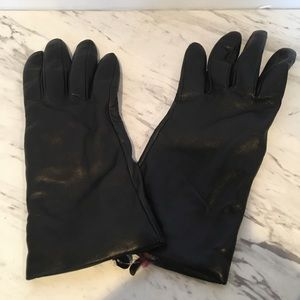 Nordstrom Black Leather Gloves w Cashmere Lining